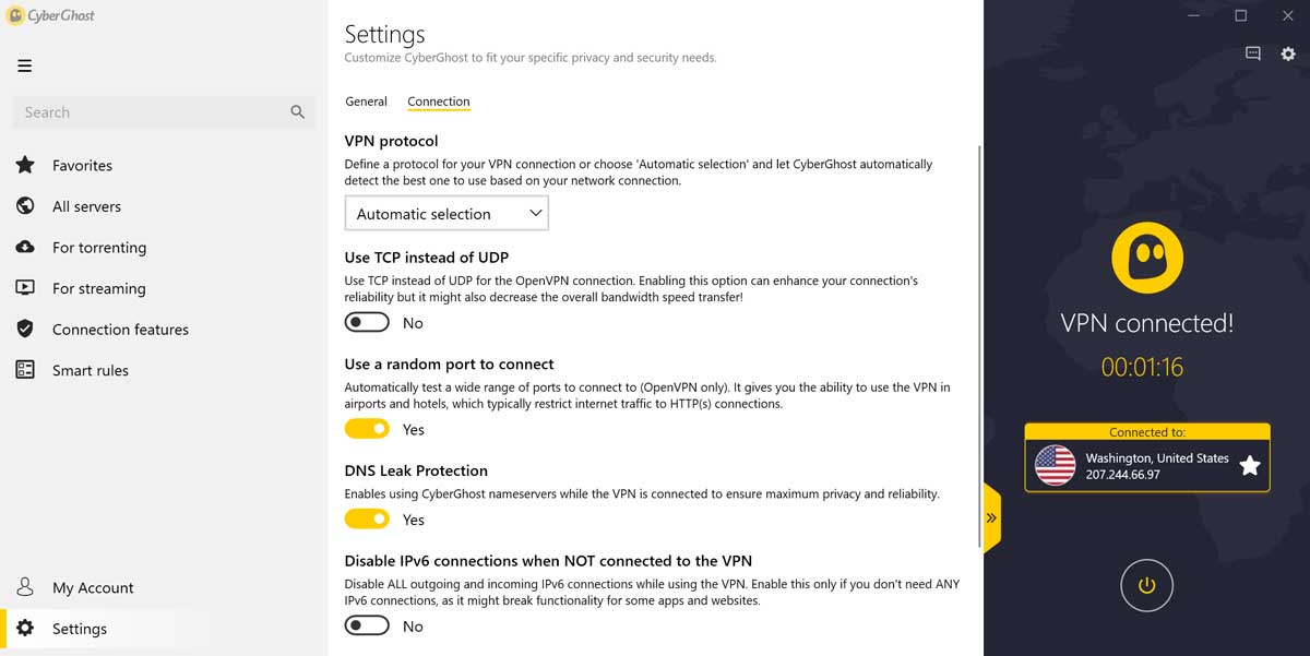cyberghost connection settings